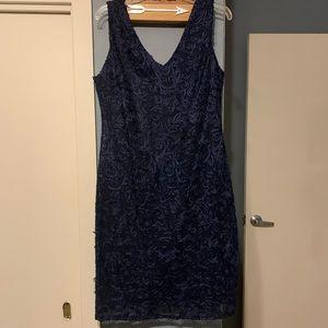 Blu Sage Navy Blue Lace Overlay Dress